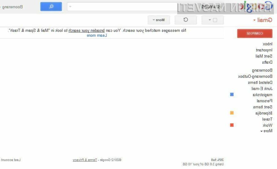 Ukaz is:unread vam bo omogočil, da boste zagotovo vso vašo elektronsko pošto videli.