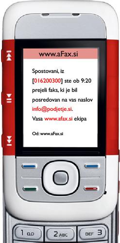 SMS obvestilo o prejetem faksu