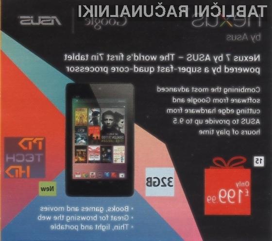 Sočasno s predstavitvijo 32-GB tablice Nexus 7 naj bi Google šibkejšim različicam občutno znižal ceno.