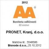 PRONET Kranj prejel certifikat bonitetne odličnosti AA