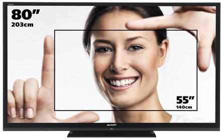 """Sharpov 80"""" TV ima kar dvakrat  več zaslonske površine kot televizorji s 55"""" diagonalo."""