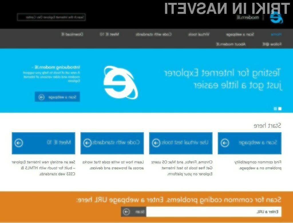 Microsoftova storitev Modern.ie bo razvijalcem spletnih strani prihranila veliko časa.