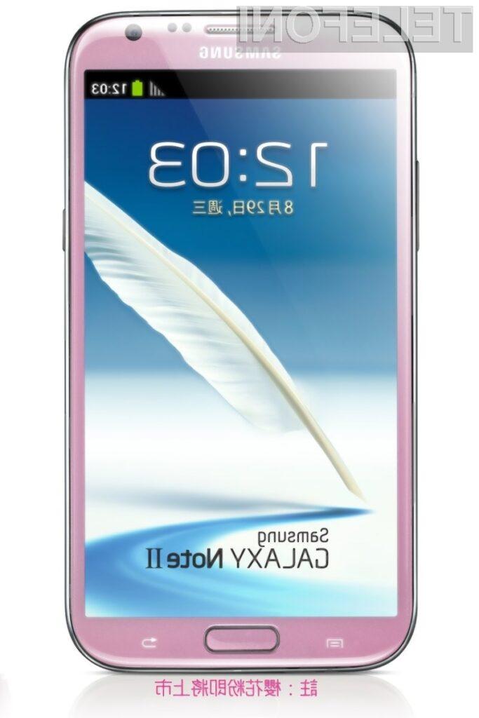 Pametni mobilni telefon Samsung Galaxy Note 2 v roza barvi bo poslovnim ženskam zagotovo všeč!