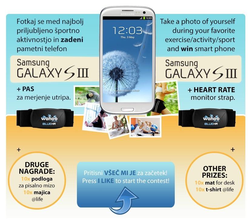 Sodeluj v nagradni igri in se poteguj za pametni telefon Samsung Galaxy SIII