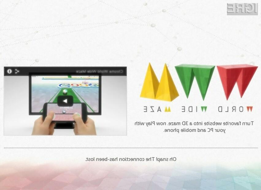 Spletna igra World Wide Maze kaže dejanske zmogljivosti in zmožnosti spletnega brskalnika Google Chrome.