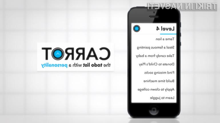 """Carrot je prva """"to-do"""" aplikacija z """"osebnostjo""""."""