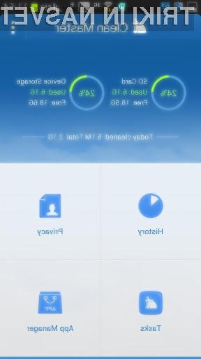 S pomočjo aplikacije Clean Master se boste odvečnih datotek na mobilni napravi Android znebili na hiter in enostaven način!