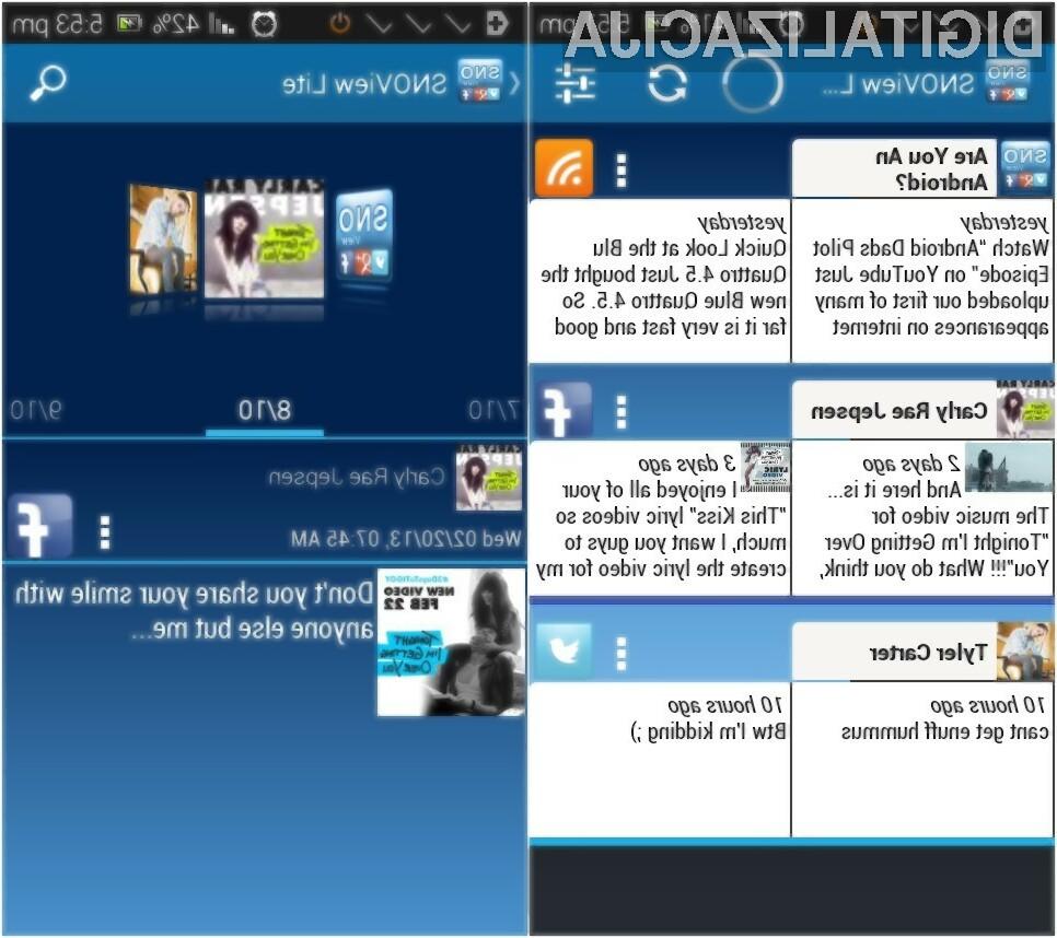 Vsa obvestila iz najbolj priljubljenih družbenih omrežij so preko aplikacije SNOView prikazana na enem mestu.