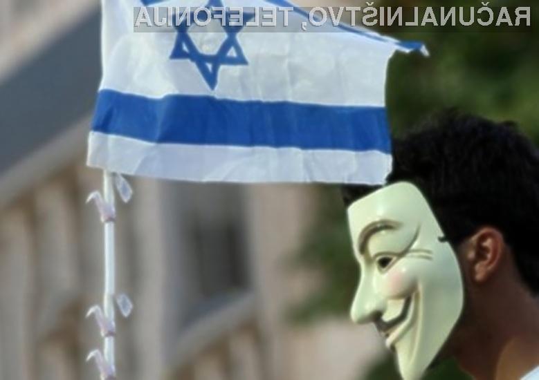 Hekerska skupina Anonymous s kibernetskimi napadi na Izrael izraža podporo Palestincem.