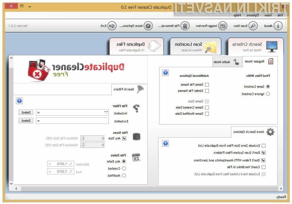 Aplikacija Duplicate Cleaner je najbolj priljubljena aplikacija za iskanje podvojenih datotek.