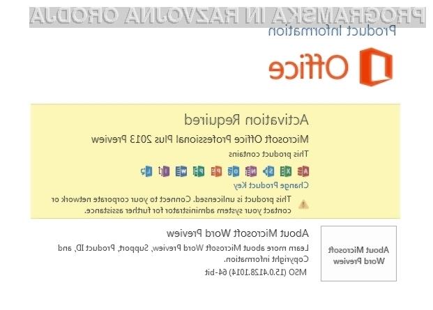 Neaktivirani pisarniški paket Office 2013 lahko od časa namestitve brezplačno uporabljamo do 180 dni.
