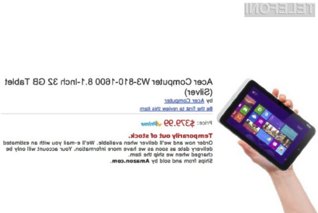 Acer Iconia W3 bo prevzel lovoriko najmanjšega tabličnega računalnika opremljenega s »čistokrvnim« operacijskim sistemom Windows 8.