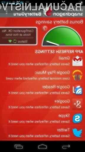 Z uporabo programa BatteryGuru se bo avtonomija delovanja mobilne naprave Android občutno podaljšala.