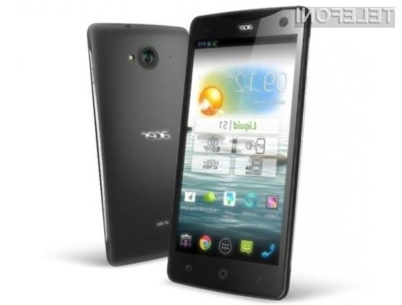 Za mobilnik Acer Liquid S1 z gigantskim zaslonom in zmogljivo strojno opremo bo potrebno ošteti zgolj 350 evrov.