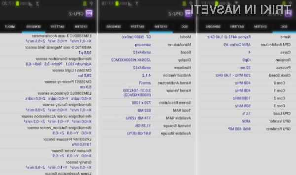 S programom CPU-Z so vsi pomembni podatki o mobilni napravi Android vedno na dosegu prsta!