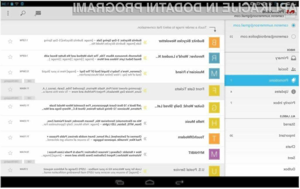 Mobilni Gmail je bogatejši za možnost hitrega in enostavnega »sortiranja« vsebin!