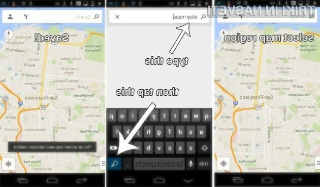 V novem Google Mapsu je možnosti za shranjevanje zemljevidov na pomnilnik naprave potrebno vključiti ročno.
