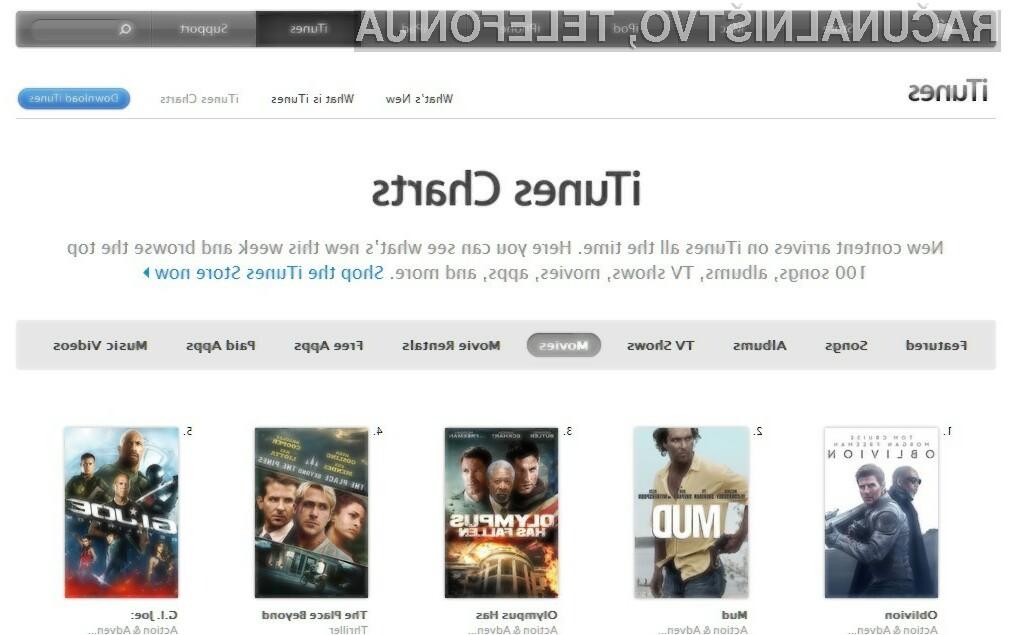 Filmske uspešnice v okviru Applove oblačne storitve iTunes so končno na voljo tudi nam!