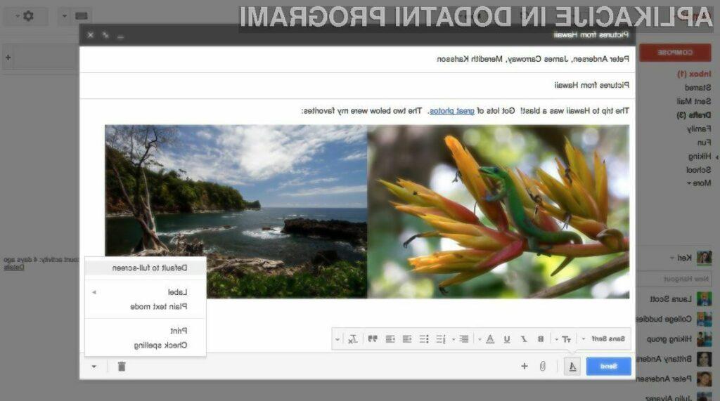 Novo okno za pripravo sporočil v odjemalcu elektronske pošte Gmail vas bo zagotovo navdušilo!