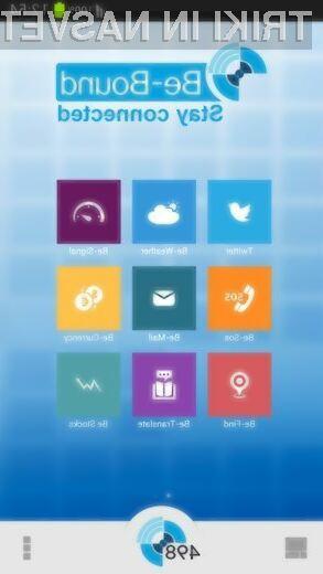 Aplikacija Be-Bound omogoča prenos podatkov preko običajnega pogovornega omrežja 2G.