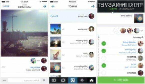 Instagram odslej omogoča pošiljanje zasebnih sporočil, fotografij in videoposnetkov.
