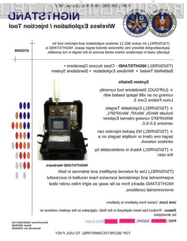 Naprava NSA se lahko vtihotapi v WiFi omrežja in okuži Windows računalnike.