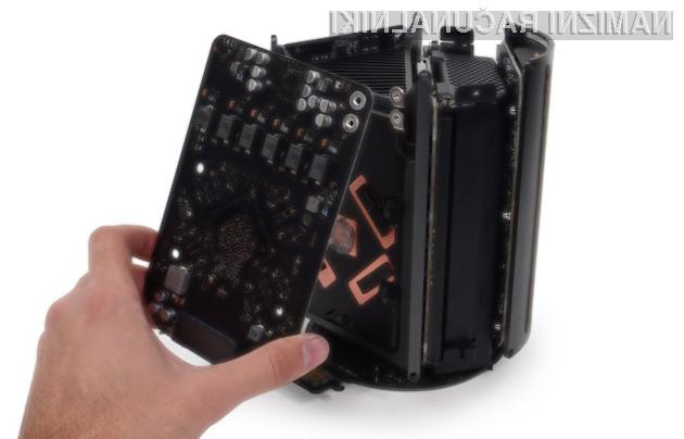 Strojne komponente Applovega osebnega računalnika družine Mac Pro 2013 lahko zamenjamo na sila enostaven način.