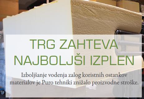Izboljšanje vodenja zalog koristnih ostankov materialov je Puro tehniki znižalo proizvodne stroške