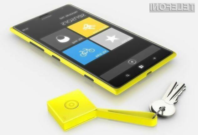 Ne en mobilnik Nokia Lumia bomo lahko povezali do štiri pametne obeske za ključe Treasure Tag!