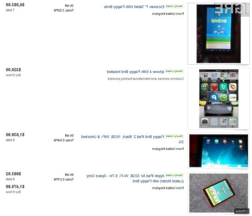 Naprave z nameščeno igro Flappy Bird dosegajo astronomske cene.