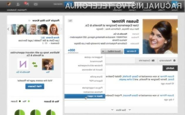 Če bomo v LinkedInz blikirali uporabnika, bomo s tem izgubili možnost, da se v prihodnosti povežemo z blokirano osebo.