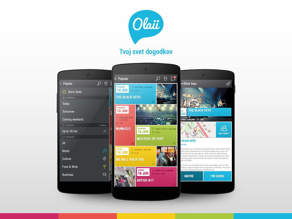 Mobilna aplikacija Olaii za aktualne dogodke v vaši bližini