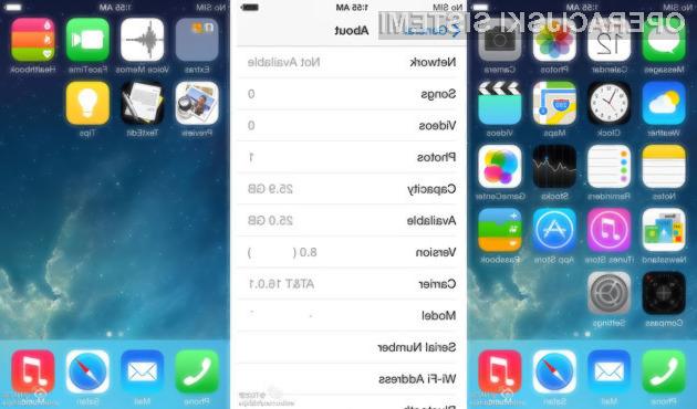 Mobilni operacijski sistem Apple iOS 8 naj bi bil izjemno všečen na pogled.
