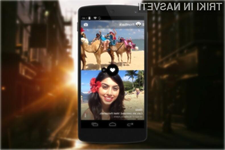FrontBack za Android omogoča sočasno uporabo tako digitalnega fotoaparata kot spletne kamere.