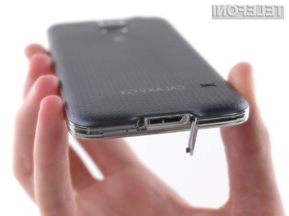 Pametni mobilni telefon Samsung Galaxy S5 si je glede popravljivosti prislužil le pet točk od možnih deset!