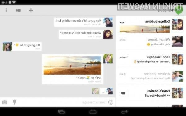 Sporočila iz spletne klepetalnice Hangouts in kratka sporočila SMS so odslej združena pod eno streho.