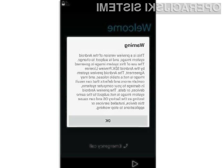 Trenutna različica Android L OS-a je izredno nestabilna.