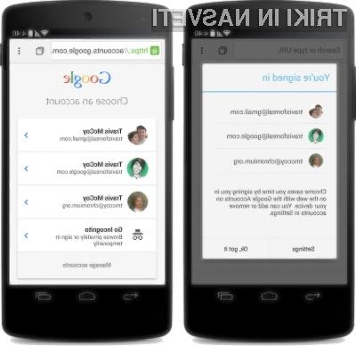 Googlov »materialni dizajn« se odlično prilega mobilnemu spletnemu brskalniku Chrome za Android.