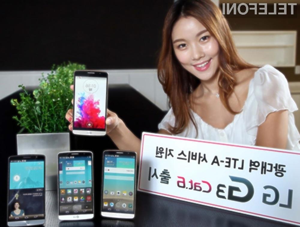Pametni mobilni telefon LG G3 Cat. 6 se bo zlahka postavil po robu mobilniku Samsung Galaxy S5 LTE-A.