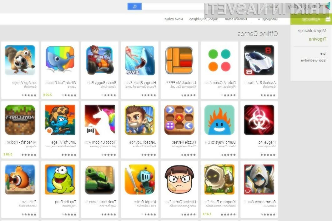 Google je uporabnikom mobilnih naprav Android olašal iskanje iger, ki za delovanje ne potrebujejo dostopa do interneta.