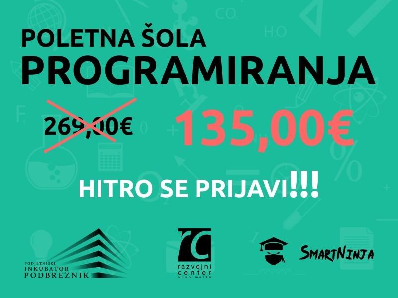 Poletna šola programiranja sedaj samo 135 EUR