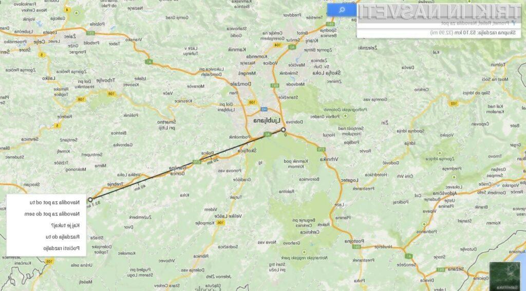 Google Maps je odslej bogatejši za možnost merjenja razdalj med izbranimi točkami.
