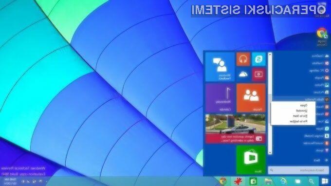Trenutna zgodnja različica operacijskega sistema Windows 10 ni primerna za domače uporabnike.