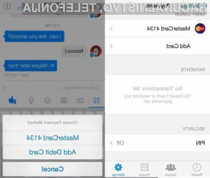 Prenovljena aplikacija Facebook Messenger bo omogočala plačevanje in pošiljanje denarja drugim uporabnikom.