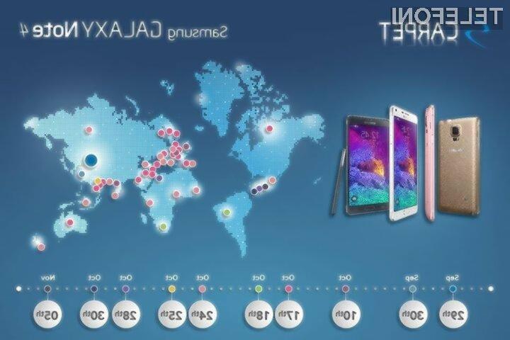 Supermobilnik Samsung Galaxy Note 4 naj bi bilo v Sloveniji mogoče kupiti že 17. oktobra.