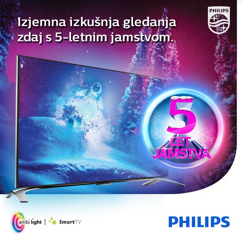 5-letno jamstvo za televizorje Philips z Ambilight tehnologijo