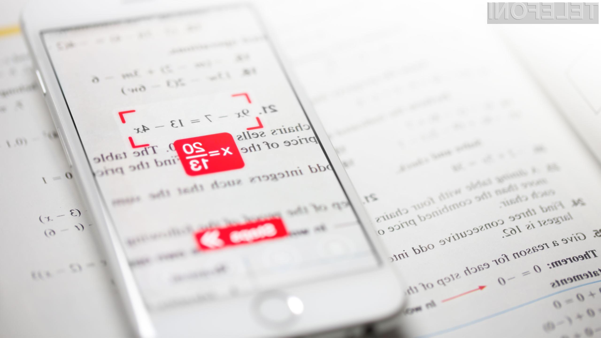 Mobilna programska oprema PhotoMath bo poenostavila marsikatero matematično operacijo.