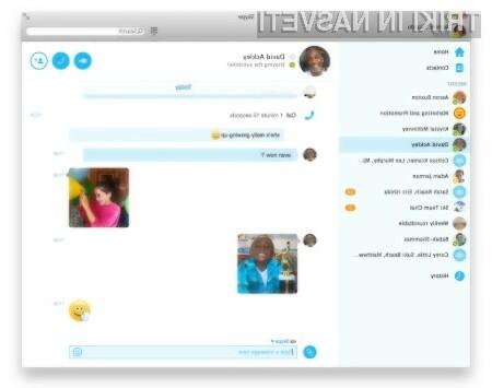 Prenovljena programska oprema Skype za osebne računalnike močno spominja na mobilno različico.