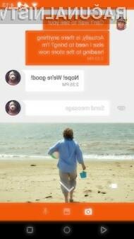 Kovinski grafični vmesnik Material Design se odlično prilega mobilni sporočili aplikaciji Google Messenger.