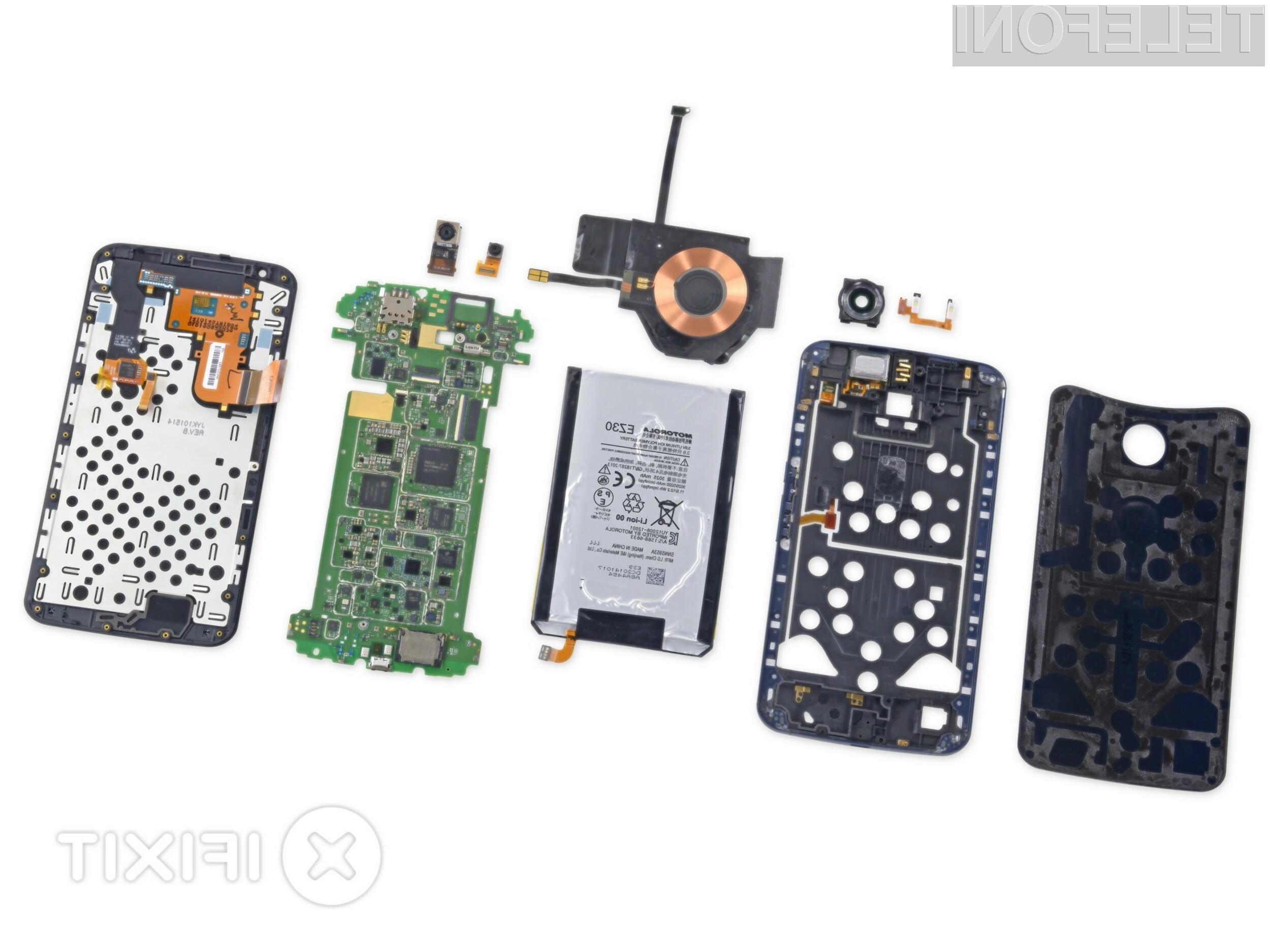 Pametni mobilni telefon Nexus 6 si je prislužil visoko oceno glede popravljivosti!